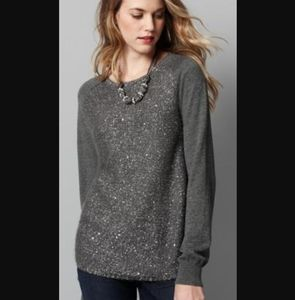 Loft sequin metallic front knit pullover sweater